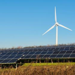 Renewable energy, solar panels, wind turbine
