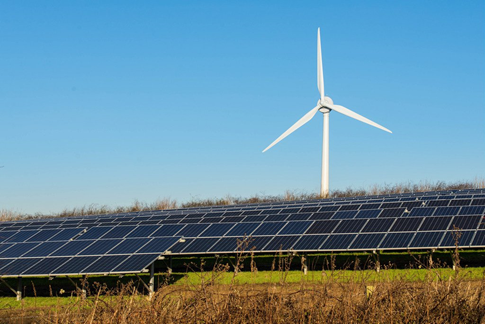 Renewable energy, solar panels, wind turbine