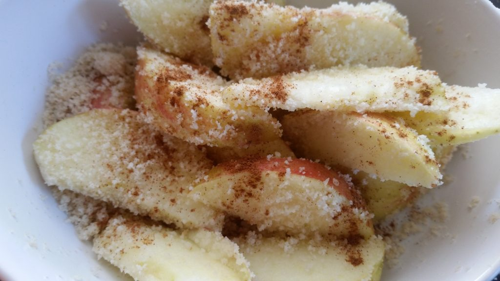 ground almonds, cinnamon, apple slices, apples, zero waste, food waste,