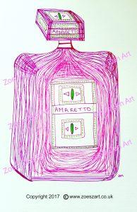 amaretto, drawing, zen art, bottle
