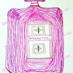 amaretto, drawing, zen art, bottle