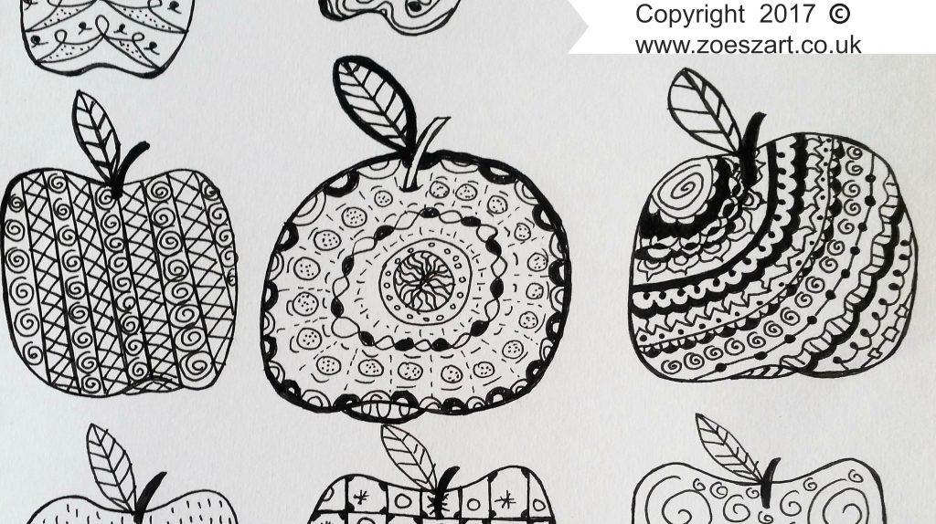 Apples, zen art, zen doodle,