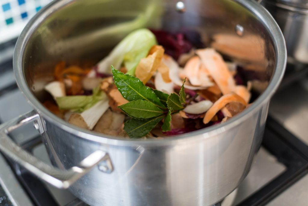 Vegetable peel stock, no waste within, reduce your food waste, zero waste, plastic free