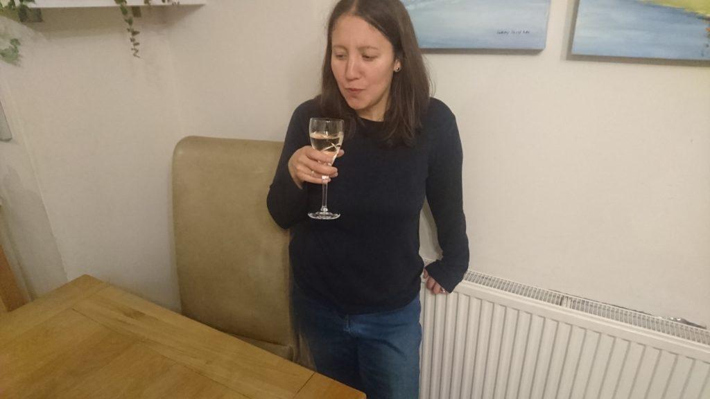 Wine tasting, swilling wine