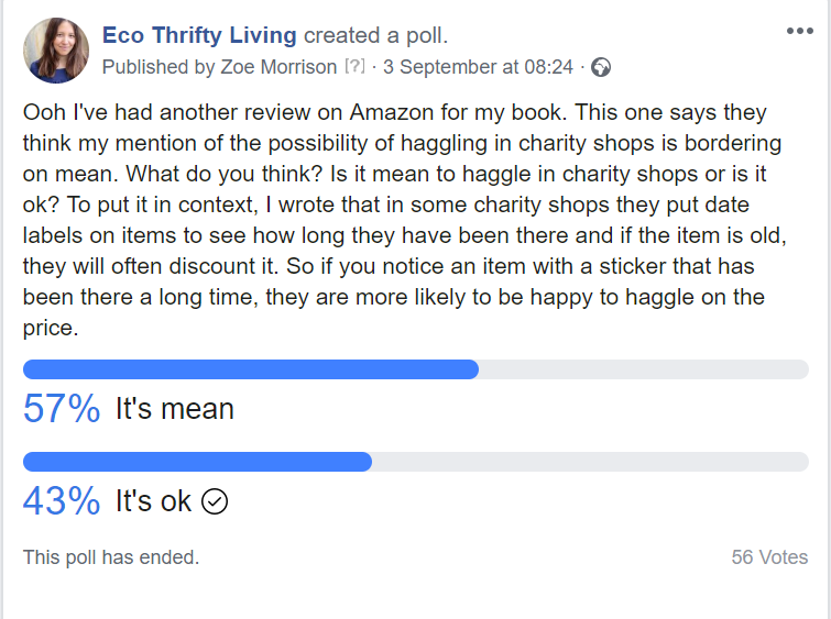 Haggling, charity shop, charity shops, Facebook poll