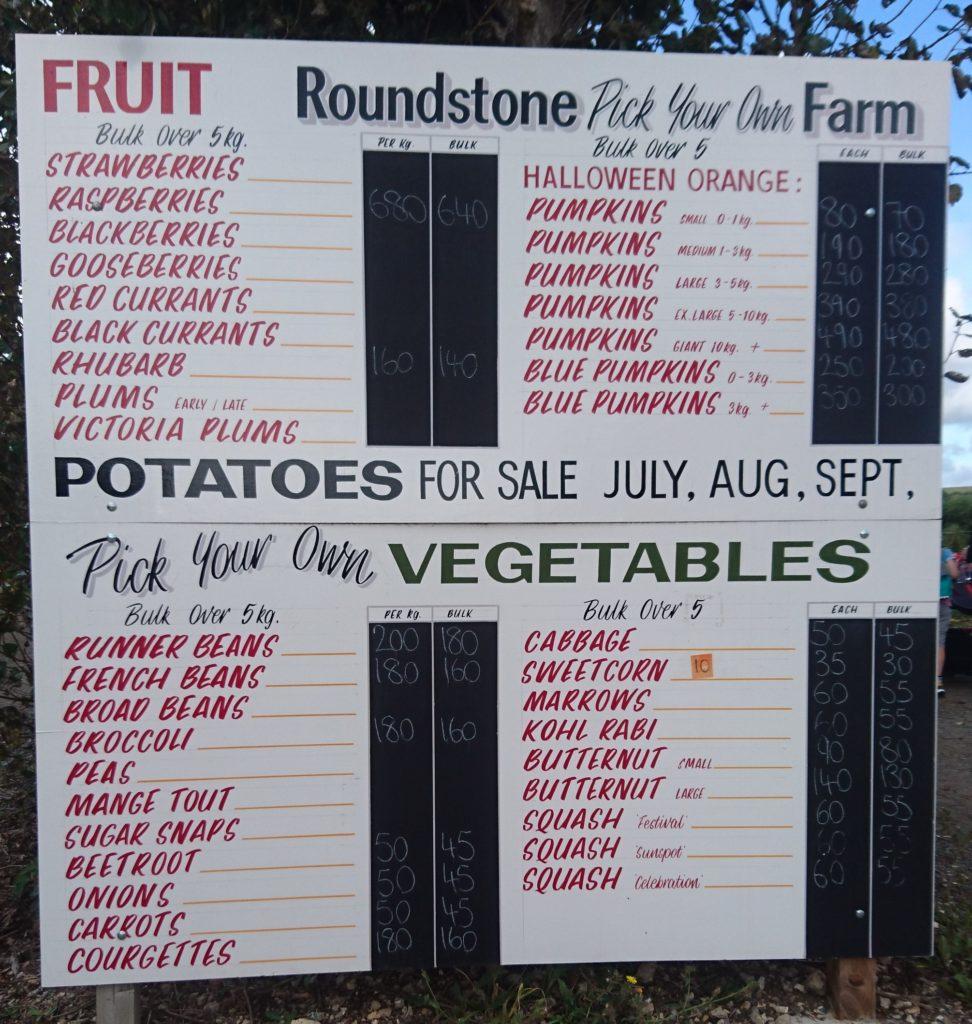 Roundstone Farm, PYO, Pick Your Own Farm, PYO Price List