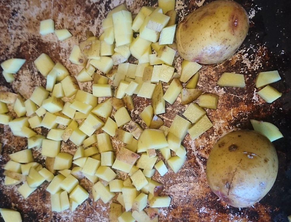 Stretch food by cutting it up, like the potatoes that have been cubed in this picture